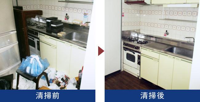 東京都新宿区の生前整理現場を清掃しました。こちらは台所の写真です。ゴミで溢れていますが、清掃後はとてもきれいな状態に戻ります。年齢を重ねるにつれて食事量も減りますので、毎日献立を考えたり、食事を一人分だけ作り続けることが負担になりますので、お弁当や惣菜を買う頻度が高くなります。ですからどうしても台所まわりはゴミが溜まりがちになるのが一般的です。