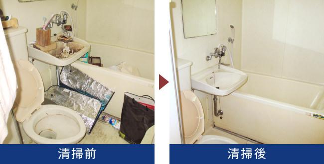 東京都新宿区の生前整理現場を清掃。こちらはお風呂場の写真です。慣れないお風呂掃除をするくらいならそもそも入らない、、と考える方も最近は増えているようです。こちらもお風呂場は物置として使われてしまっていますが、その分、状態としては比較的きれいです。